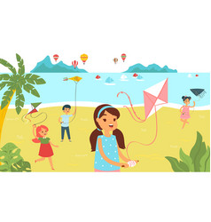 group children running beach with kite cheerfully vector image
