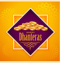 Happy dhanteras background with many golden coins vector