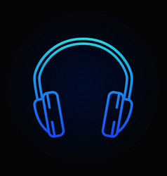 Headphone blue isolated outline icon vector