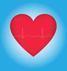Heart with cardiogram on blue vector