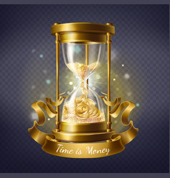 Hourglass with gold coins time is money vector