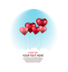 I love you with floating heart balloon on blue vector