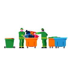 Janitor wiper yardman people sorting trash can vector