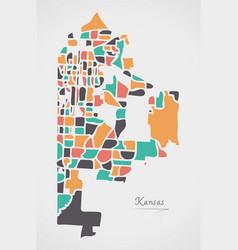 Kansas missouri map with neighborhoods and modern vector