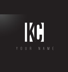 kc letter logo with black and white negative vector image