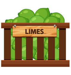 Lime in wooden crate vector