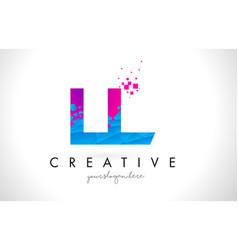 Ll l letter logo with shattered broken blue pink vector
