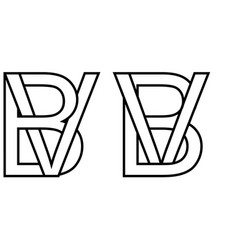 Logo sign bv vb icon sign two interlaced letters b vector