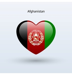 Love afghanistan symbol heart flag icon vector