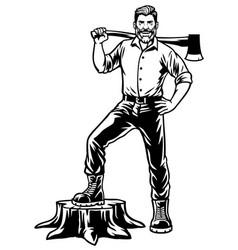 Lumberjack worker posing stand on cut tree vector
