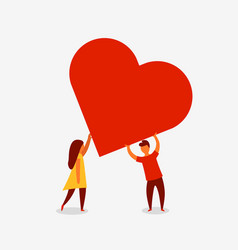 man and woman holding big red heart valenine day vector image