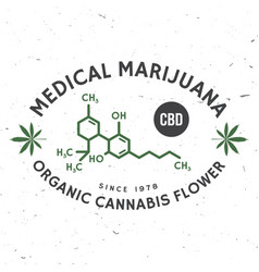 medical cannabis badge with cannabis leaf vector image