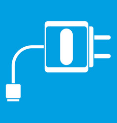 Mini charger icon white vector