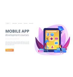 Mobile app development courses concept landing vector