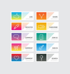 Modern banner button with social icon design optio vector image