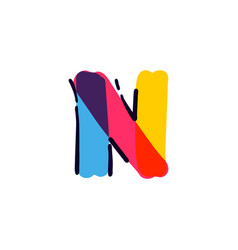 N letter logo handwritten with a multicolor vector