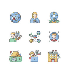 Networking rgb color icons set vector
