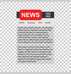 News template sign icon in transparent style vector
