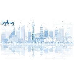 Outline sydney australia skyline with blue vector