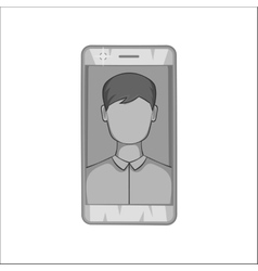 Photo in mobile phone icon black monochrome style vector image