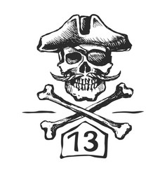 Pirate skull with a mustache sketch vector