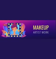 Professional makeup concept banner header vector