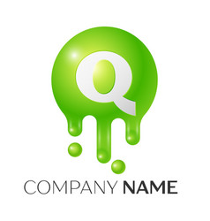 q letter splash green dots and bubbles letter vector image