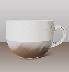 Realistic transparent glass cup of cappuccino vector