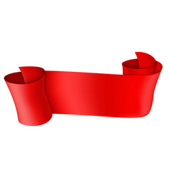 red scroll 3d shiny banner vector image