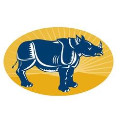 Rhinoceros facing side view vector