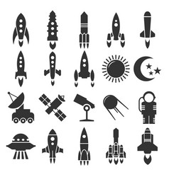 Rocket spaceship astronomy icons design vector