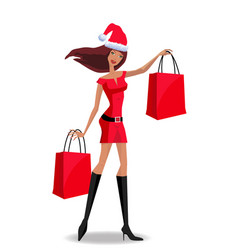 santa girl character in red dress and santa hat vector image