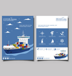 sea shipping poster template set vector image
