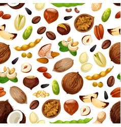 seamless pattern for nuts and fruit seeds vector image