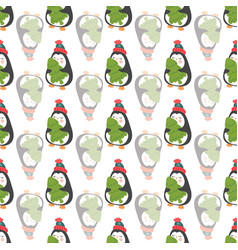 seamless pattern with cute penguins holding a tree vector image