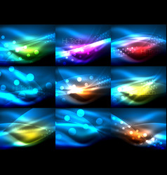 Set of neon wave backgrounds with light effects vector
