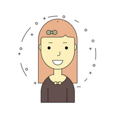 smiling girl character minimalism cartoon flat vector image