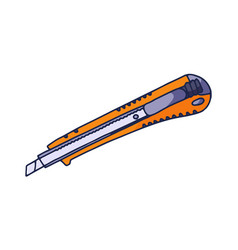 stationery knife in doodle style color the vector image