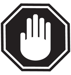 Stop gesture sign black vector image