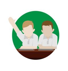 Student raise hand school cartoon graphic design vector