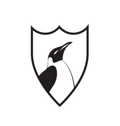 stylized penguin on a shield vector image