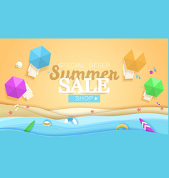 summer sale concept banner tropical beach vector image