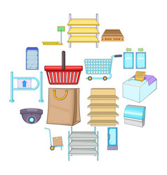 supermarket icons set cartoon style vector image