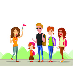 tour vacation with guide cartoon comic vector image
