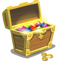treasure chest full jewels vector image