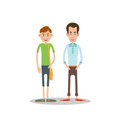 two guys stand nearby and smile vector image