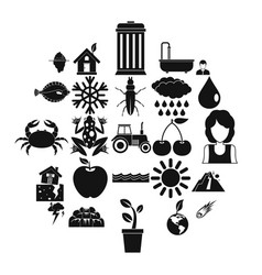 Variety species icons set simple style vector