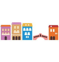 Venetian colorful houses isolated on white vector image