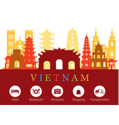 Vietnam landmarks skyline with accommodation icons vector