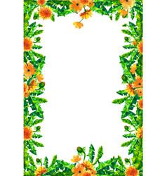 watercolor dandelion flowers blossoms rectangular vector image